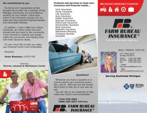 Farm Bureau Insuarance brochure outside