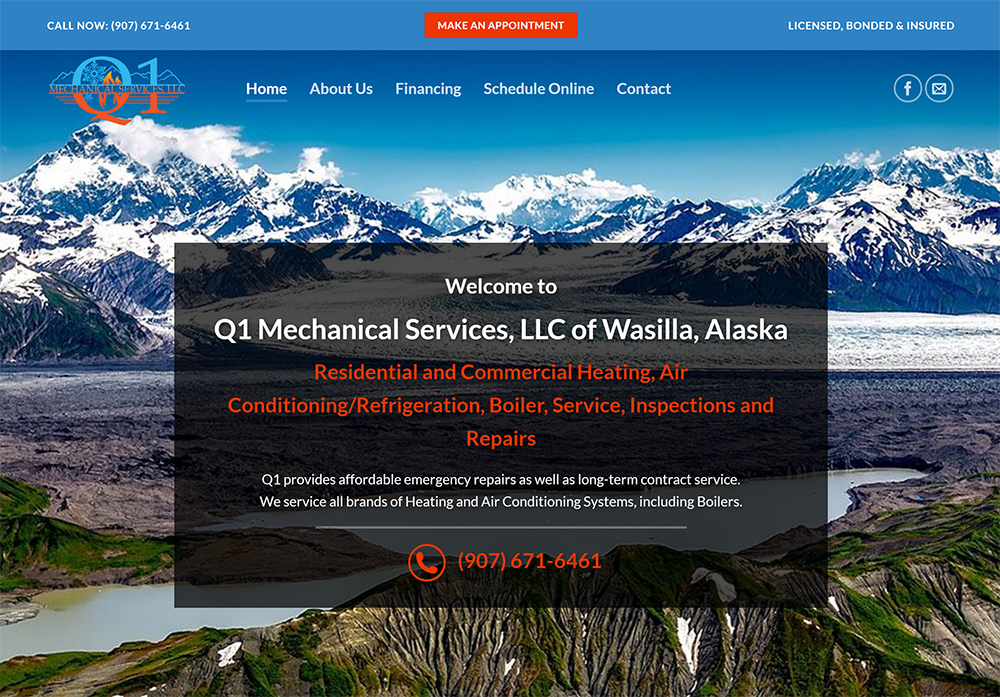 Q1 Mechanical Services of Alaska provides HVAC, heating and cooling repair in Wasilla and Palmer, AK